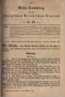 Gesetz-Sammlung für die Königlichen Preussischen Staaten. 1899.10.10 No31