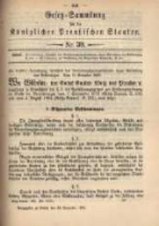 Gesetz-Sammlung für die Königlichen Preussischen Staaten. 1899.11.28 No39