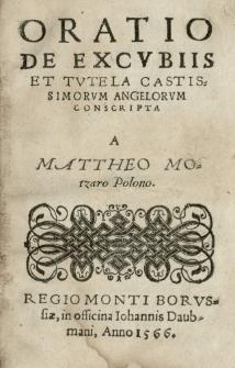 Oratio de excubiis et tutela castissimorum angelorum conscripta a [...]