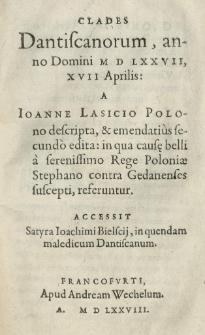 Clades Dantiscanorum, anno [...] 1577 [rom.]