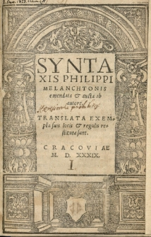 Syntaxis Philippi Melanchtonis emendata et aucta ab autore [...]