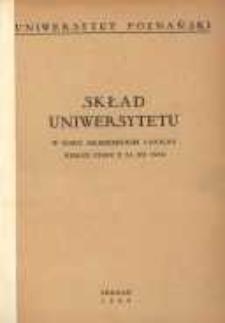 Uniwersytet Poznański: skład Uniwersytetu w roku akademickim 1954/55 według stanu z 31.12.1954