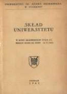 Uniwersytet im. Adama Mickiewicza w Poznaniu: skład Uniwersytetu w roku akademickim 1960/61 według stanu na dzień 30. IX. 1960