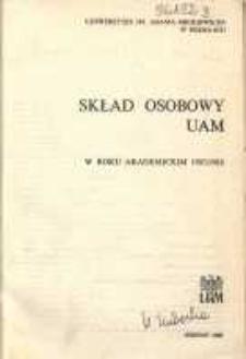 Uniwersytet im. Adama Mickiewicza w Poznaniu: sklad osobowy UAM w roku akademickim 1987/1988