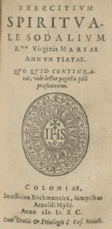 Exercitium spirituale sodalium B.mae Virginis Mariae Annuntiatae [...]