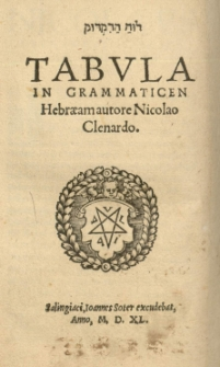 Tabula in grammaticen Hebraeam autore Nicolao Cleonardo
