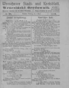 Wreschener Stadt und Kreisblatt; Wrzesiński Orędownik miejski i powiatowy: amtlicher Anzeiger für den Kreis Wreschen; organ urzędowy na powiat wrzesiński 1919.04.01 Nr38