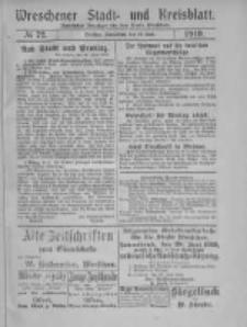Wreschener Stadt und Kreisblatt: amtlicher Anzeiger für den Kreis Wreschen 1919.06.21 Nr72