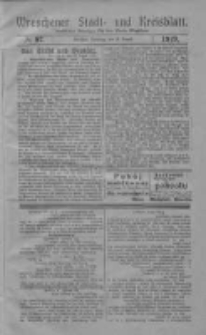 Wreschener Stadt und Kreisblatt: amtlicher Anzeiger für den Kreis Wreschen 1919.08.19 Nr97