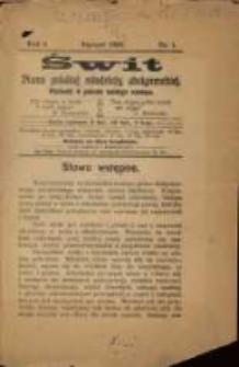 Świt. R. 1, 1908, nr 1