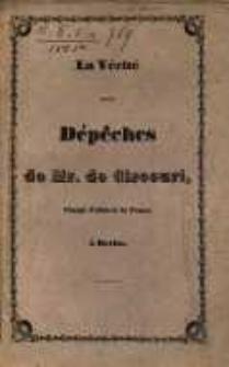 La vérité sur les dépêches de Mr. de Circourt, chargé d'affaires de France à Berlin / par Zieliński.