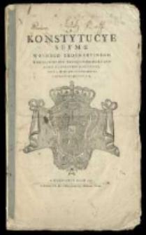 Konstytucye seymu walnego ordynacyinego warszawskiego sześcioniedzielnego roku [...] 1780 (rz) [...] 2 [...] października odprawiającego się