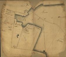 [Rękopiśmienny szkic, na którym zaznaczono nazwiska właścicieli gruntów położonych między lasem Czołowskim i Kamioneckim].