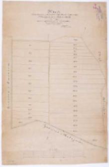 Karta rozparcelowania gruntu powstałego z wyrębu lasu w rewirze Błażejewa dóbr kórnickich zawierająca zarazem uregulowanie granicy z kolejami [...] wykreślił [...] Tomaszewski.