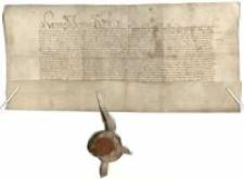 [Potwierdzenie przez króla Jana Olbrachta sprzedaży na wyderkaf (pożyczka z prawem odkupu) Urielowi z Górki, biskupowi poznańskiemu, czynszu rocznego 60 grzywien, zapisanego na dochodach miasta Poznania i płaconego corocznie królowi przez władze miejskie, od kwoty 2000 złotych węgierskich, która powstała z dwóch różnych sum: 700 złotych węgierskich pożyczonych przez Olbrachta obecnie (1493) oraz sumy wcześniejszej 1300 złotych węgierskich, pożyczonej przez ojca monarchy, Kazimierza Jagiellończyka, od patrycjusza poznańskiego Jana Walkera, a po jego śmierci (zm. przed 1489) wykupionej przez Górkę za zgodą tegoż króla od wdowy Barbary i jej małoletnich dzieci (1489)]