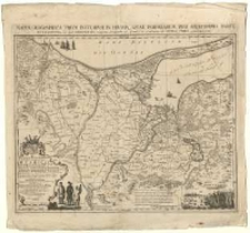 Mappa geografica trium insularum in Prussia, quae Poloniarum regi serenissimo paret, accuratissima in qua Gedaniensis emporii longitudo 36 gradus et 21 minuta ab insula Ferro connumeratur. Iohannes Fridericus Endersch.