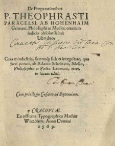 De praeparationibus [...] Libri duo. [Tłum. i wyd.:] Adam Schröter