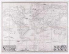 Planisphère illustré [...] indiquant l'époque des grandes découvertes et le nom des navigateurs [...] dressé par Vuillemin. Grave par Langevin [...].
