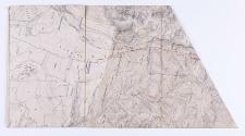 [Projekt linii kolejowej naniesiony na austriacką mapę katastralną, która miała łączyć Zakopane z Suchą Horą.]