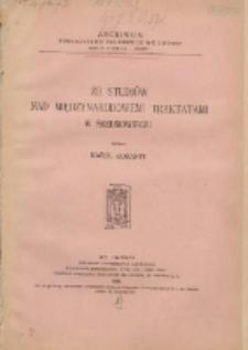 Ze studjów nad międzynarodowemi traktatami w średniowieczu