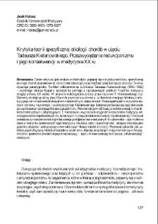 Krytyka teorii specyficznej etiologii chorób w ujęciu Tadeusza Kielanowskiego. Przezwyciężanie redukcjonizmu i jego konsekwencji w medycynie XX w.