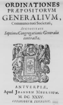 Ordinationes Praepositorum Generalium, Communes toti Societati, Auctoritate Septimae Congregationis Generalis contractae