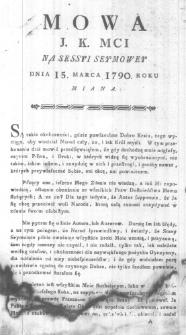 Mowa J.K.Mci na Sessyi Seymowy Dnia 15. Marca 1790. oku miana