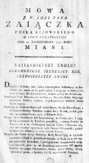 Mowa J. W. Imci Pana Zaiączka Posła Kijowskiego w Izbie Senatorskiey Dnia 23. Października 1786. Roku miana